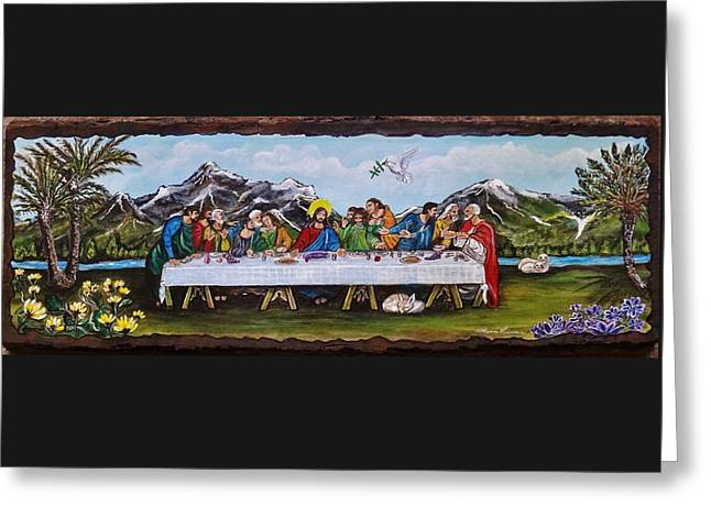 Religious Paintings Greeting Cards - Last Supper My Interpretation Greeting Card by Lois    Rivera