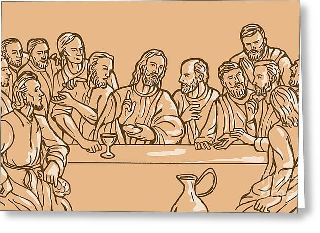 Judas Greeting Cards - last supper of Jesus Christ Greeting Card by Aloysius Patrimonio