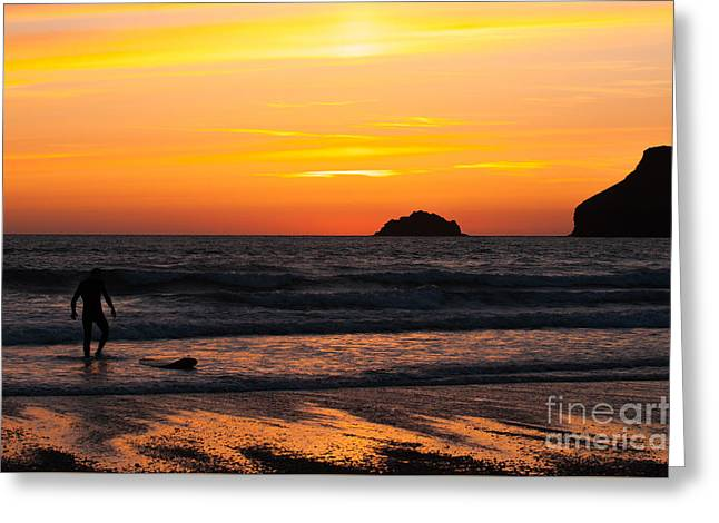 Surf Silhouette Greeting Cards - Last Surfer Greeting Card by Amanda And Christopher Elwell