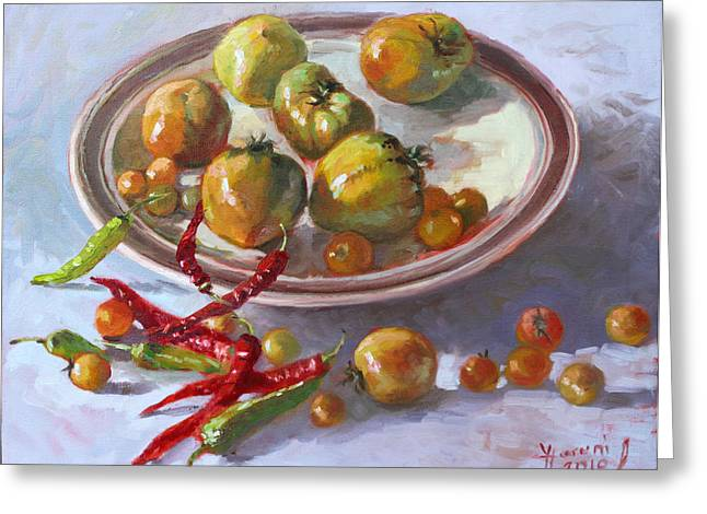 Chilli Greeting Cards - Last Tomatoes from my Garden Greeting Card by Ylli Haruni