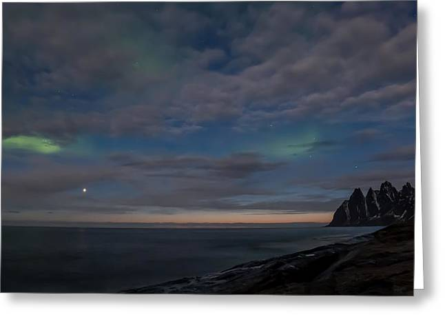 Calm Pyrography Greeting Cards - Last touch of Aurora Greeting Card by Frantz Robert Konradsen