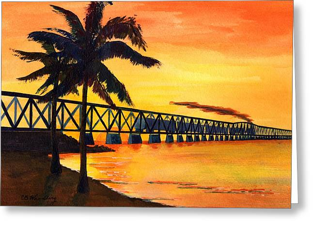Florida Bridge Paintings Greeting Cards - Last Train To Paradise Greeting Card by CB Woodling