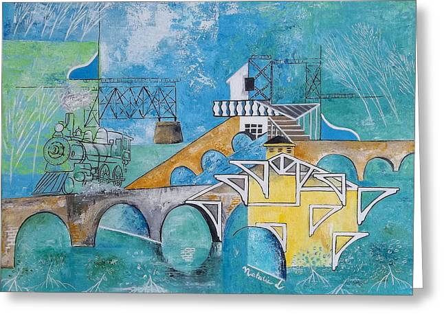 Paradise Road Paintings Greeting Cards - Last Train To Paradise Greeting Card by Natalie L