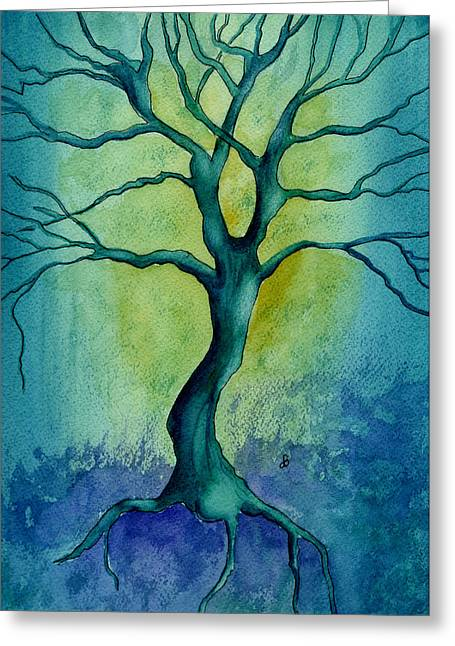 Tree Roots Paintings Greeting Cards - Last Tree Standing Greeting Card by Brenda Owen