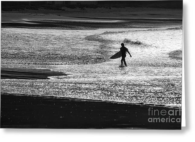Surfer Images Greeting Cards - Last wave Greeting Card by Sheila Smart
