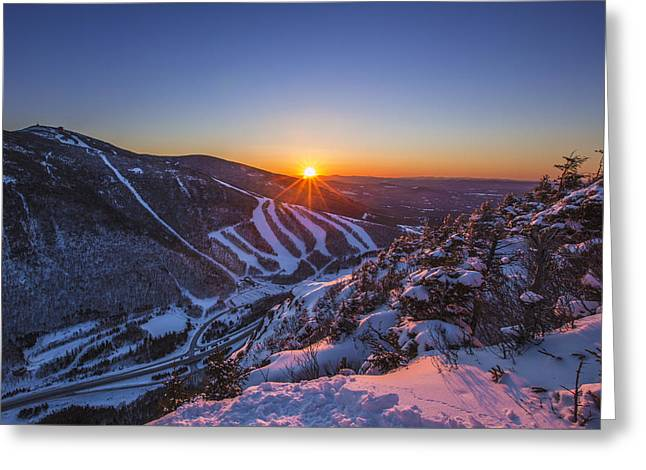 New England Snow Scene Greeting Cards - Last Winter Sunset over Cannon Mountain Greeting Card by Christopher Whiton