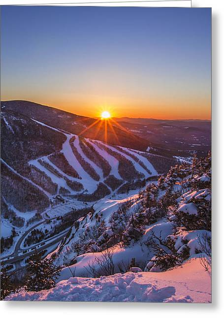 New England Snow Scene Greeting Cards - Last Winter Sunset over Cannon Mountain Vertical Greeting Card by Christopher Whiton