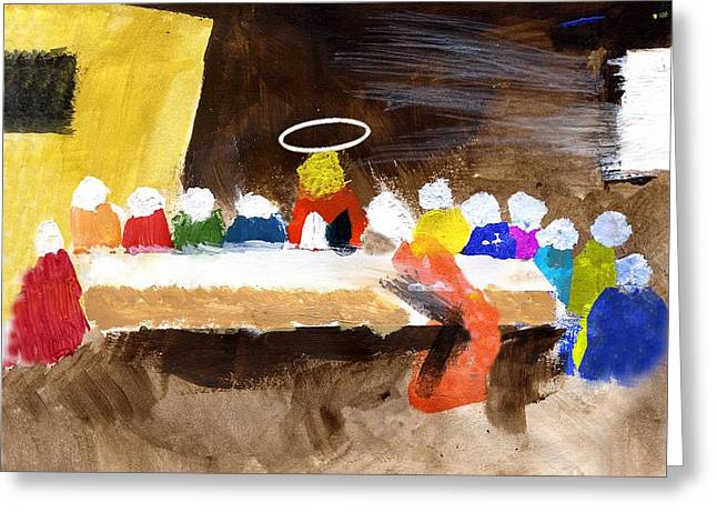 Jesus Mixed Media Greeting Cards - LastSupper Greeting Card by Curtis J Neeley Jr