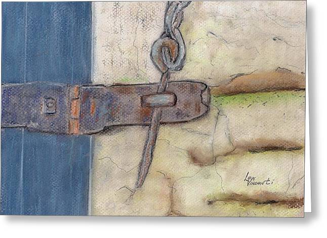 Barn Door Pastels Greeting Cards - Latch I Greeting Card by Len Vincenti