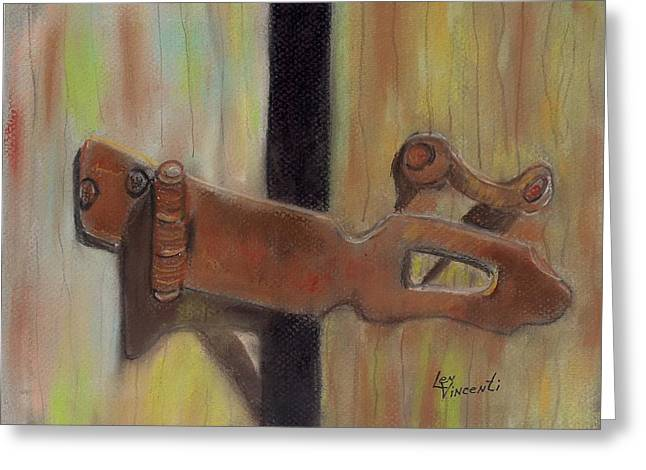 Barn Door Pastels Greeting Cards - Latch III Greeting Card by Len Vincenti