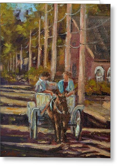 Late Afternoon Carriage Ride Greeting Card by Charles Schaefer