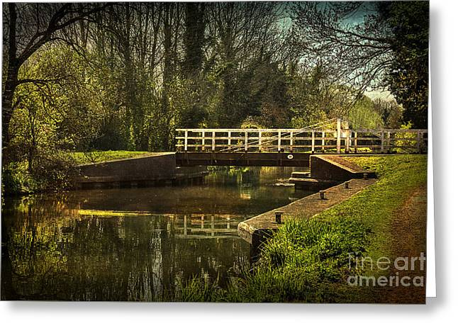 Blue And Green Greeting Cards - Late Afternoon On The Kennet Greeting Card by Ian Lewis