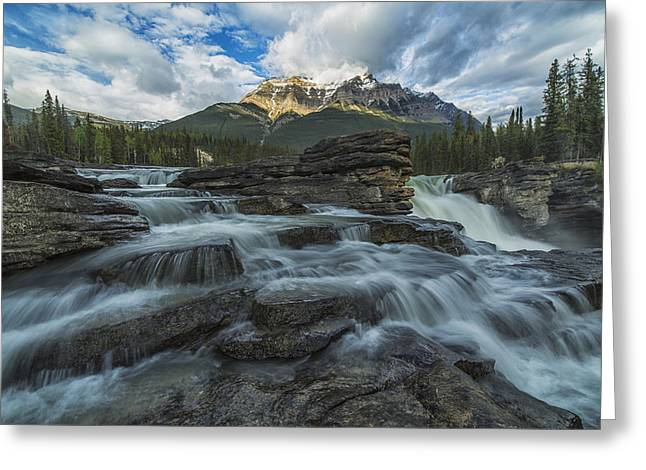 Alberta Water Falls Greeting Cards - Late Afternoon Sun Lights Up Mount Greeting Card by Robert Postma