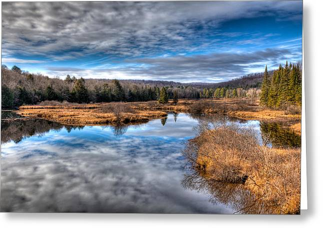 Late Autumn At The Green Bridge Greeting Card by David Patterson