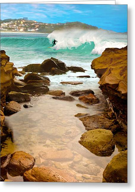 Surfing Greeting Cards - Late Break Greeting Card by Az Jackson