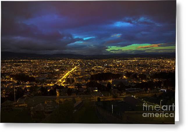 Canadian Photographer Greeting Cards - Late Dusk View Of Cuenca From Turi Greeting Card by Al Bourassa