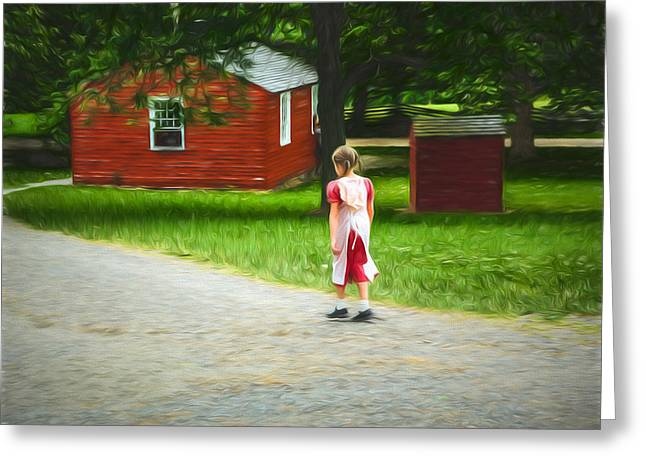 Alone Digital Art Greeting Cards - Late for school Greeting Card by Chris Bordeleau