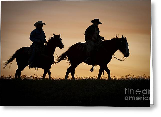 Arizona Cowboy Greeting Cards - Late For Supper Greeting Card by Sandra Bronstein