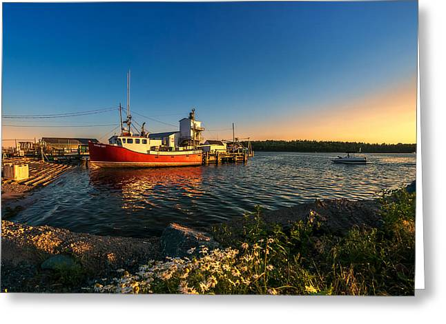 Fishing Boats Greeting Cards - Late in the Day at Fishermans Cove  Greeting Card by Ken Morris
