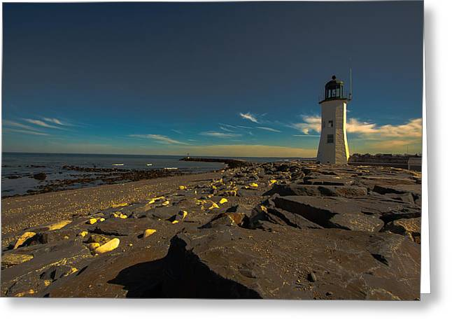 Boston Ma Greeting Cards - Late Light at the Light Greeting Card by Brian MacLean