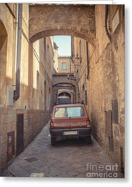Arched Bridge Greeting Cards - Late Model Car in Ancient Alley Greeting Card by Edward Fielding