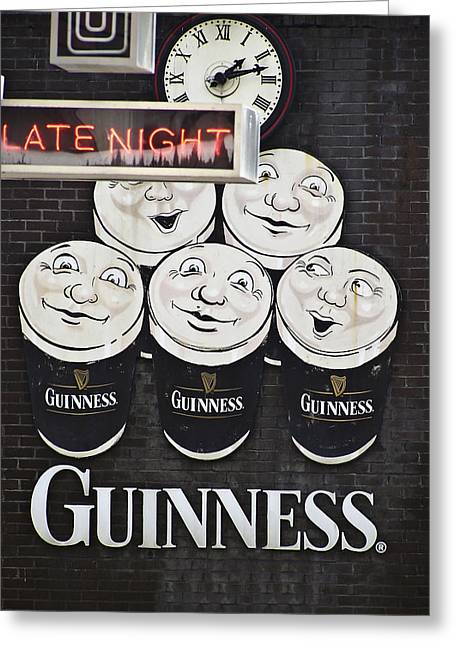 Authentic Greeting Cards - Late Night Guinness Limerick Ireland Greeting Card by Teresa Mucha
