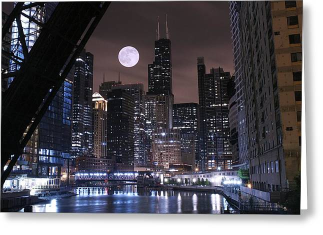 Chicago Bulls Greeting Cards - Late Night in Chicago Greeting Card by Frozen in Time Fine Art Photography