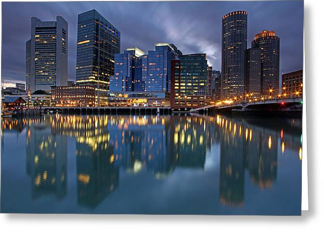 Boston Ma Greeting Cards - Late Night Greeting Card by Juergen Roth