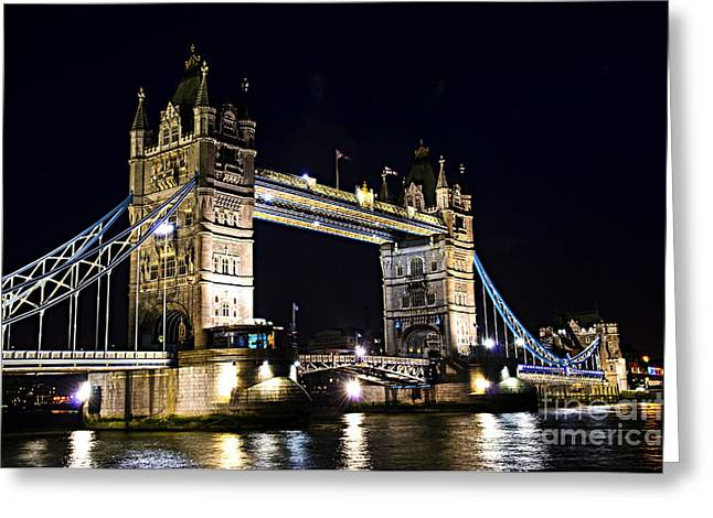 Old Tower Greeting Cards - Late night Tower Bridge Greeting Card by Elena Elisseeva