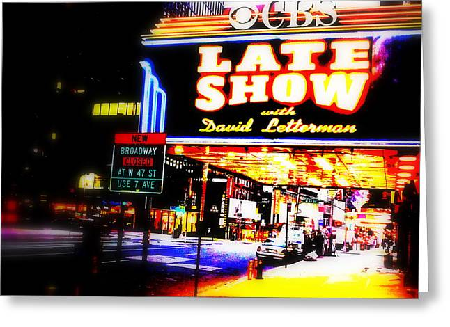 Late Show On Manhattan's Broadway Greeting Card by Funkpix Photo Hunter