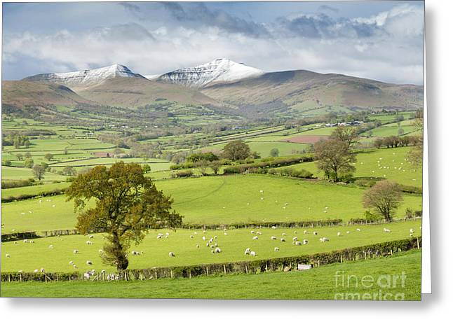 Pen Greeting Cards - Late spring snow on the peaks of the Brecon Beacons National Park, Wales. Greeting Card by Justin Foulkes