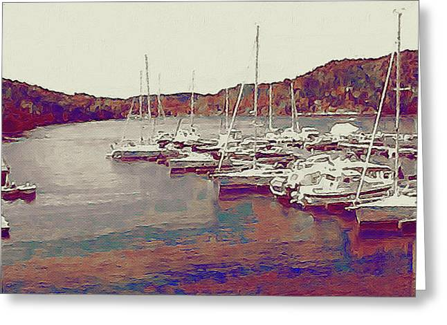 Boats In Harbor Greeting Cards - Late Summer Harbor Greeting Card by Susan Maxwell Schmidt