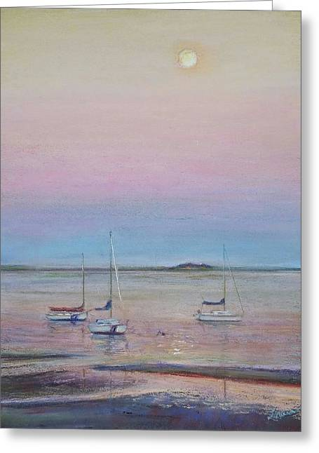 Cape Cod Pastels Greeting Cards - Late Sun on the Seascout Greeting Card by Laura Balboni Craciun