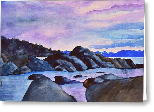 Late Sunset At The Lake With Purple Cast Greeting Card by Linda Brody