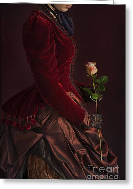 Satin Skirt Greeting Cards - Late Victorian Woman In A Crimson Velvet Jacket And Dress Holdin Greeting Card by Lee Avison