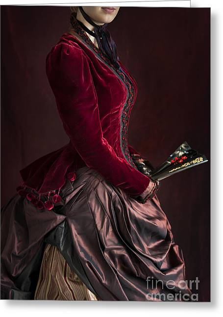 Satin Skirt Greeting Cards - Late Victorian Woman In A Crimson Velvet Jacket And Silk Skirt H Greeting Card by Lee Avison