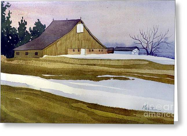 New Jersey Paintings Greeting Cards - Late Winter Melt Greeting Card by Donald Maier