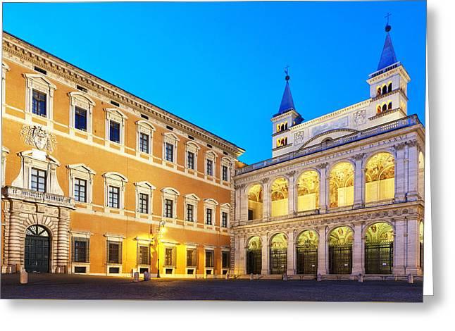 Lateran Greeting Cards - Palazzo Laterano and the Loggia delle Benedizioni Greeting Card by Fabrizio Troiani