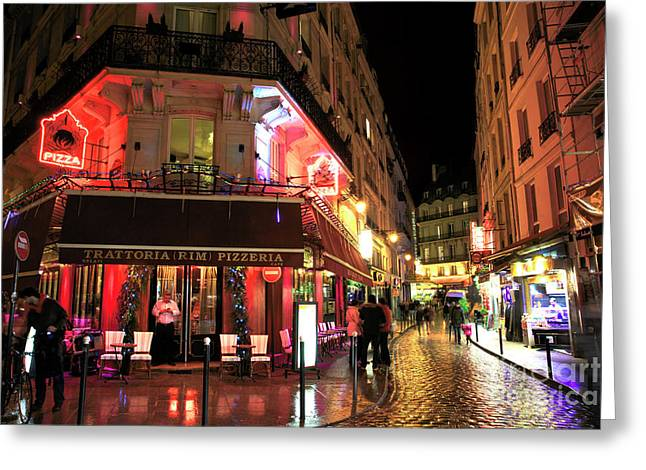Pizza Places Greeting Cards - Latin Quarter Pizza Greeting Card by John Rizzuto