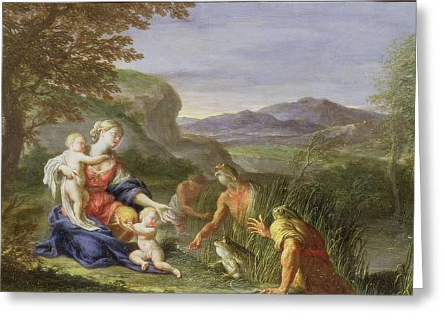 Latona And The Frogs Greeting Card by Francesco Trevisani