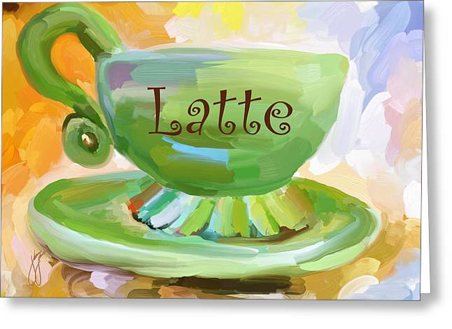Latte Coffee Cup Greeting Card by Jai Johnson