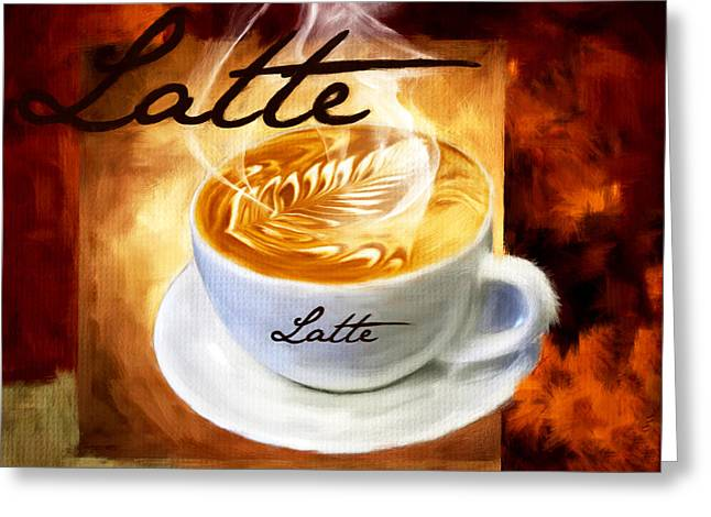 Downtown Cafe Greeting Cards - Latte Greeting Card by Lourry Legarde
