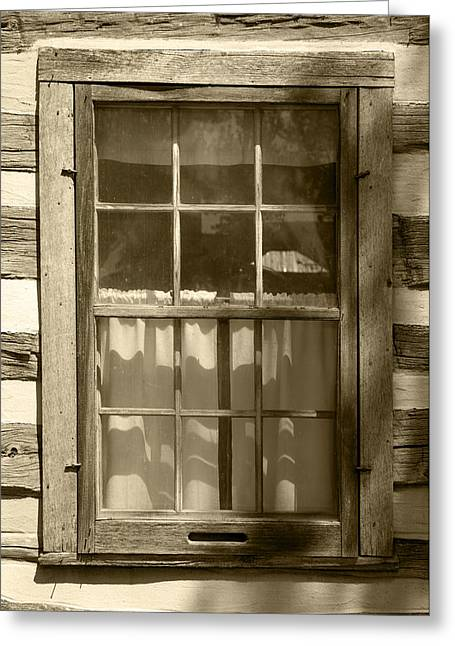 Lattice Window On Log Cabin Greeting Card by Donald  Erickson
