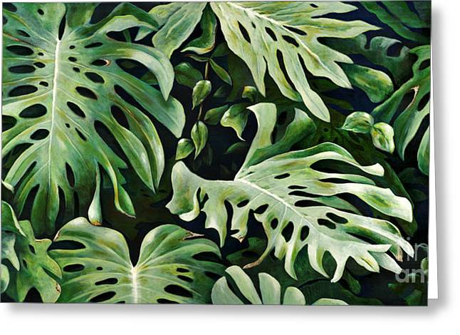 Philodendron Greeting Cards - Lau-Nahele Greeting Card by Sandra Blazel - Printscapes