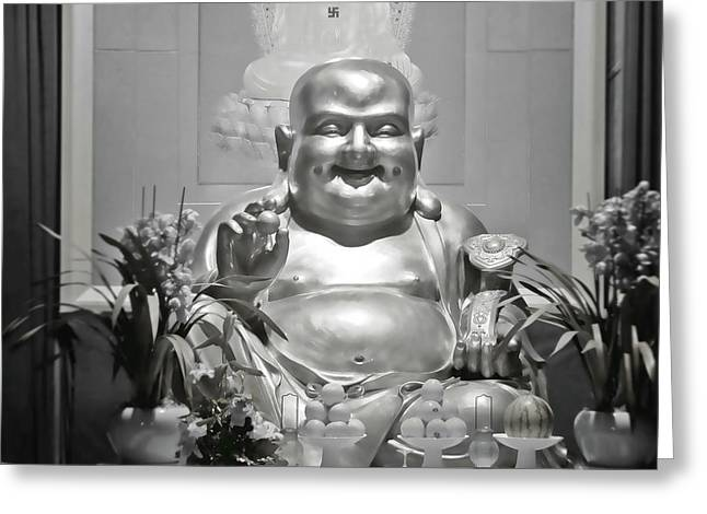 Laughing Greeting Cards - Laughing Buddha - A symbol of joy and wealth Greeting Card by Christine Till
