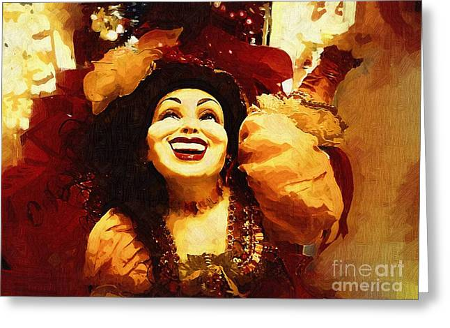 Laughing Gypsy Greeting Card by Deborah MacQuarrie-Haig