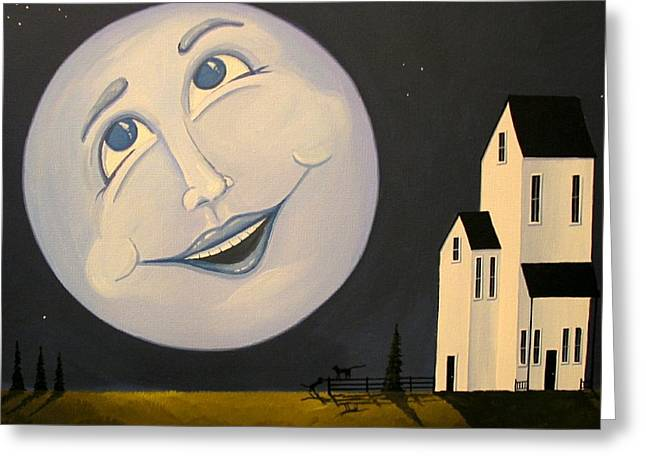 Man In The Moon Paintings Greeting Cards - Laughing With The Moon Man Greeting Card by Debbie Criswell