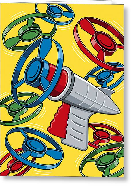 Vintage Toys Greeting Cards - Launcher Gun Greeting Card by Ron Magnes