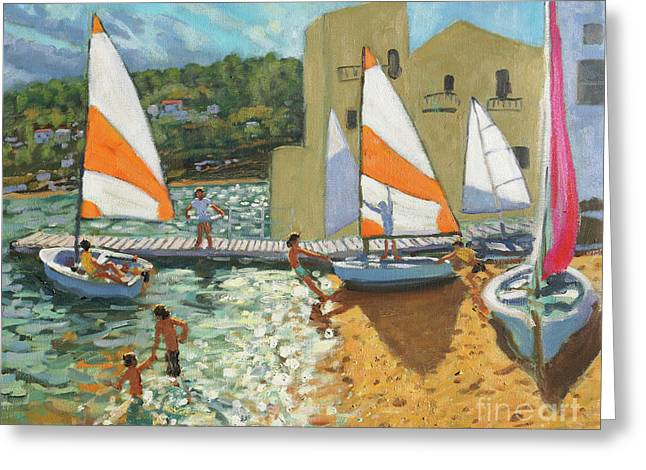 Launching Boats, Calella De Palafrugell, Spain Greeting Card by Andrew Macara