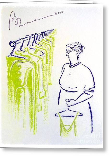 Pretending Pastels Greeting Cards - The Laundress Greeting Card by Barbara Chase